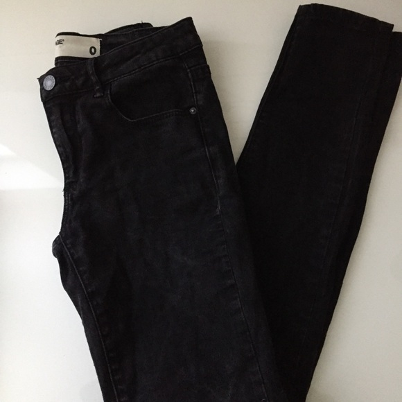 Garage High-Waisted Black Acid Wash Jeans